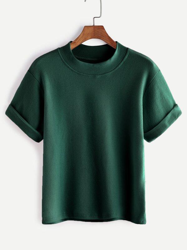 c2133398 Mock Neck Cuffed T-shirt   SHEIN