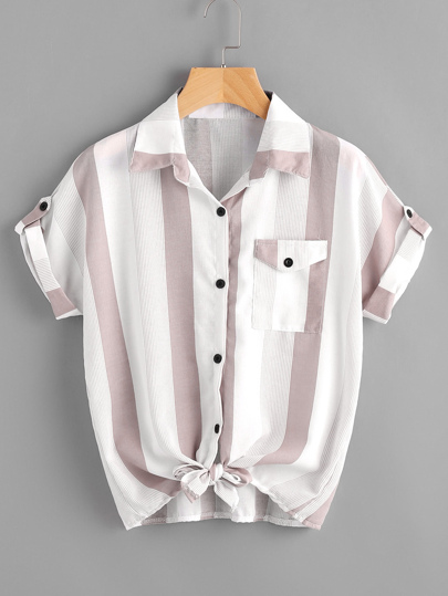 91938b85344 Striped Roll Tab Sleeve Knot Hem Shirt