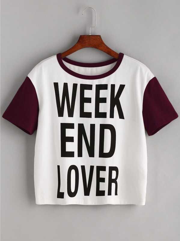 7a41454a9c9 Slogan Print Contrast Short Sleeve T-shirt -SheIn(Sheinside)