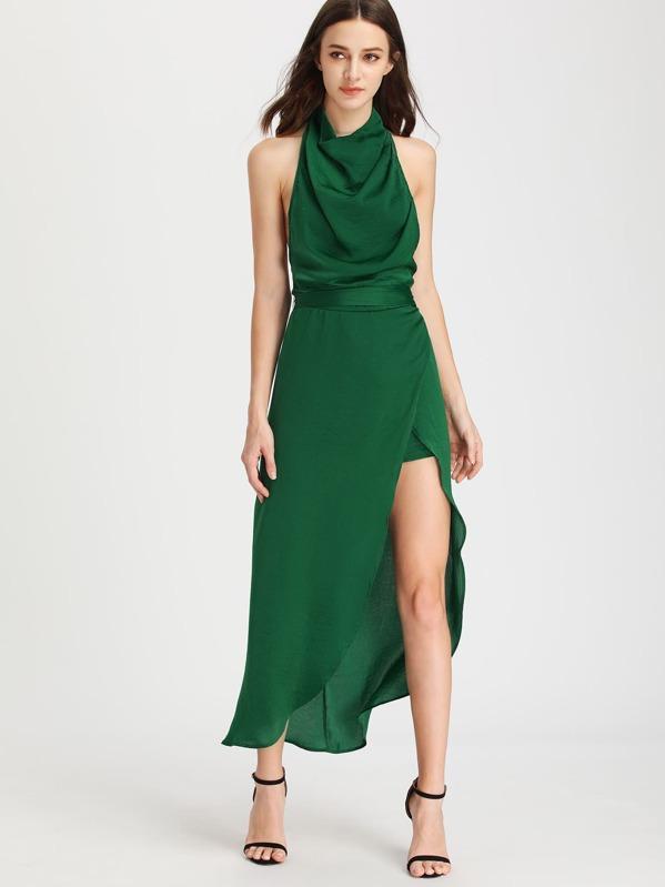 a31331ebb8c2 Asimétrio abito con scollo all americana cappuccio - verde