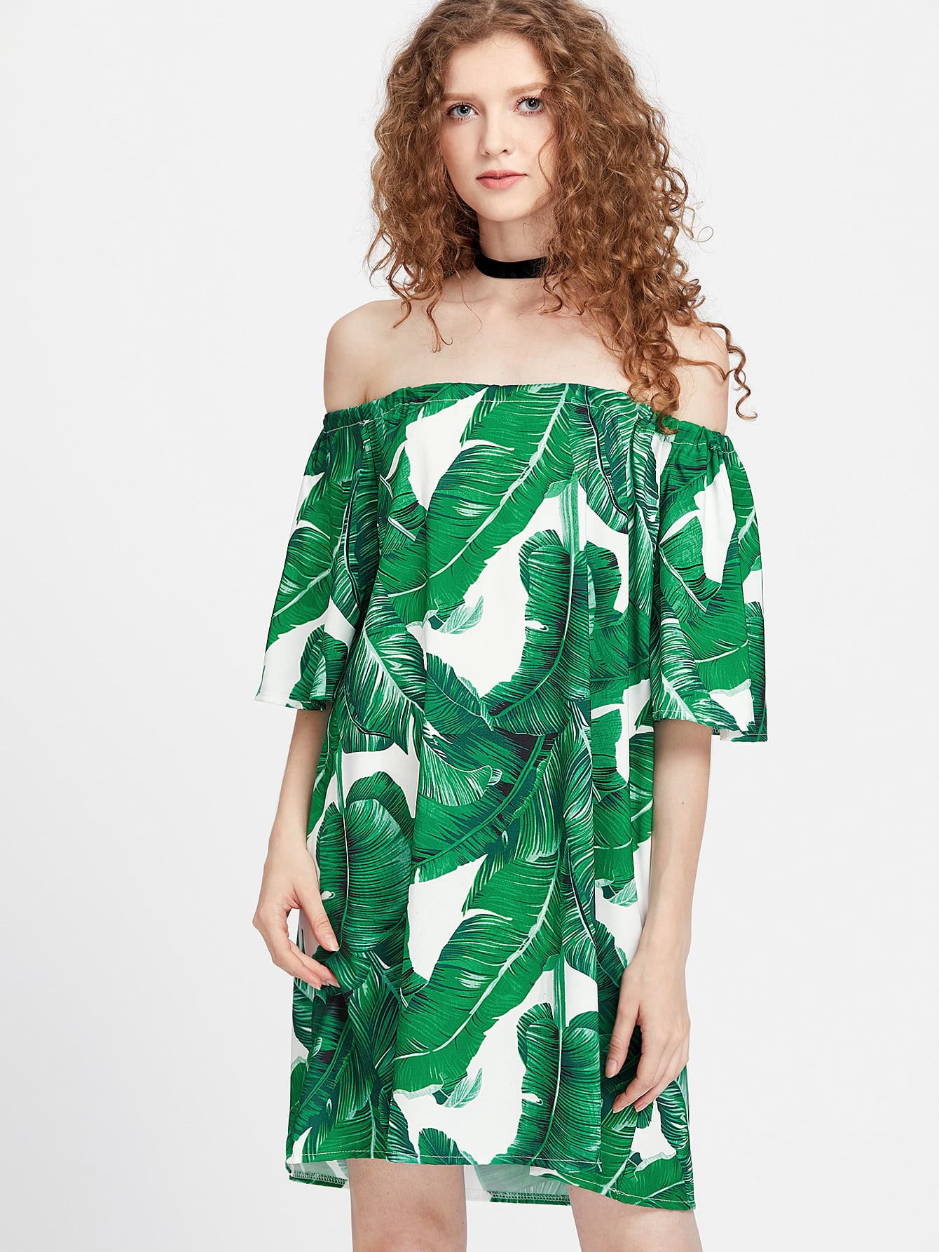 Bardot Leaf Print Dress