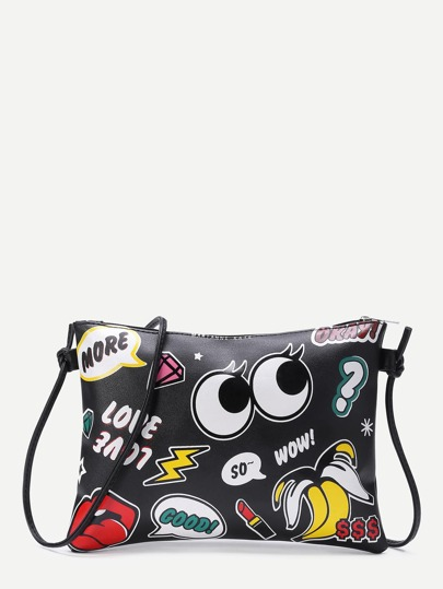 d9edf3c4b0 Eye And Letter Print Zipper Detail Clutch Bag