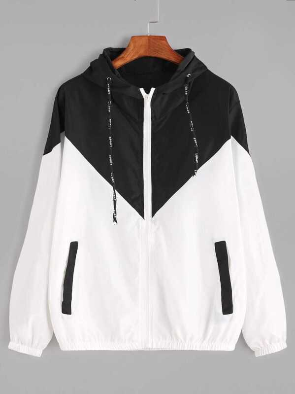 bfd25002f7c Color Block Drawstring Hooded Zip Up Jacket