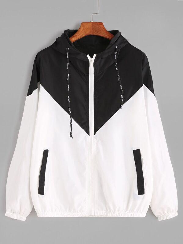 b2c462642bd Color Block Drawstring Hooded Zip Up Jacket