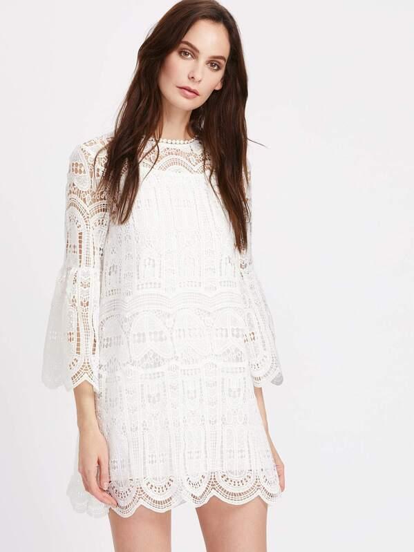 Cheap Bell Sleeve Scallop Edge Geo Crochet Dress For Sale Australia