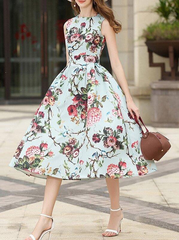 c6f8193ade Rose Print A-Line Dress | SHEIN
