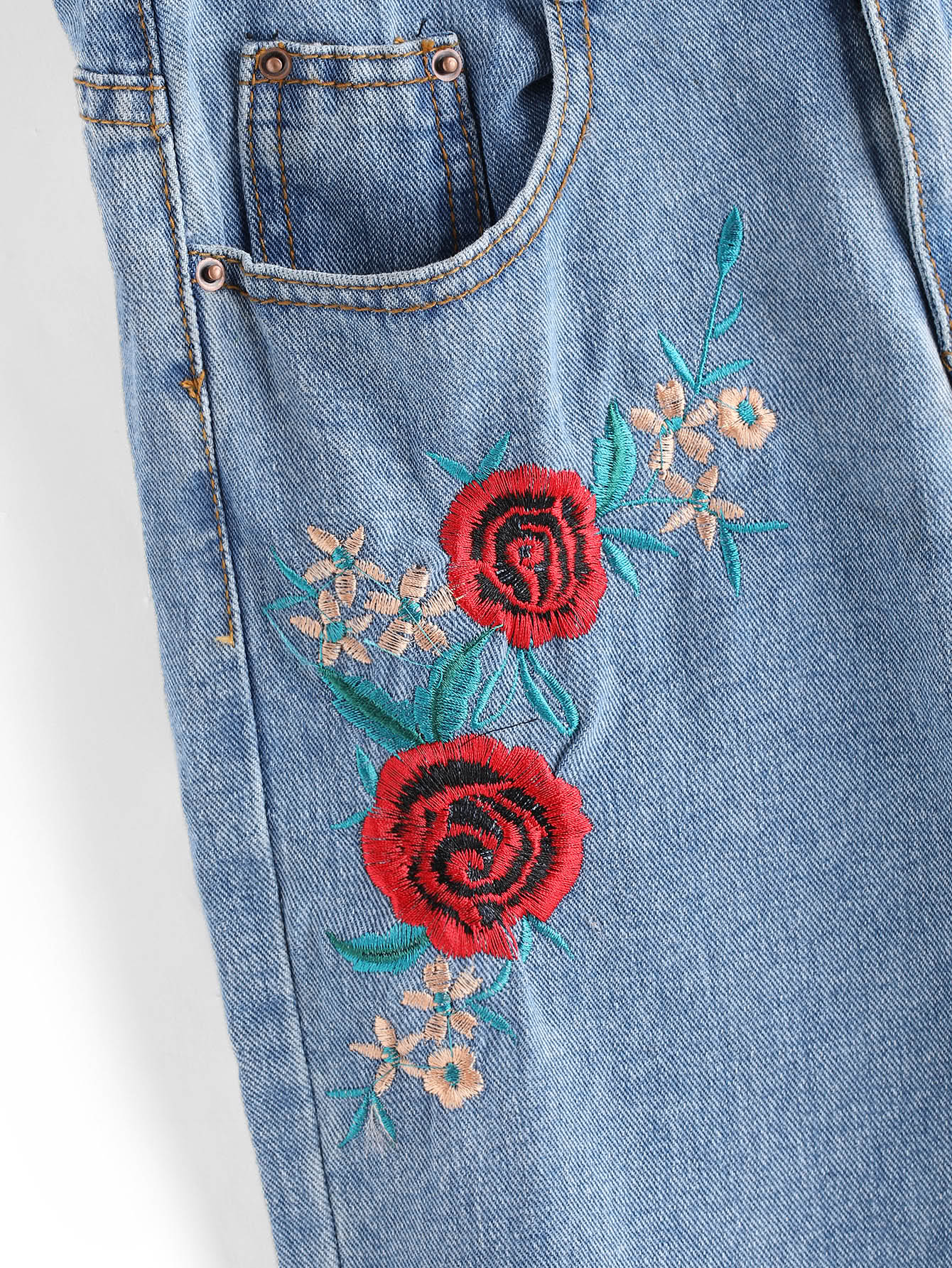 Rose embroidered straight jeans shein sheinside