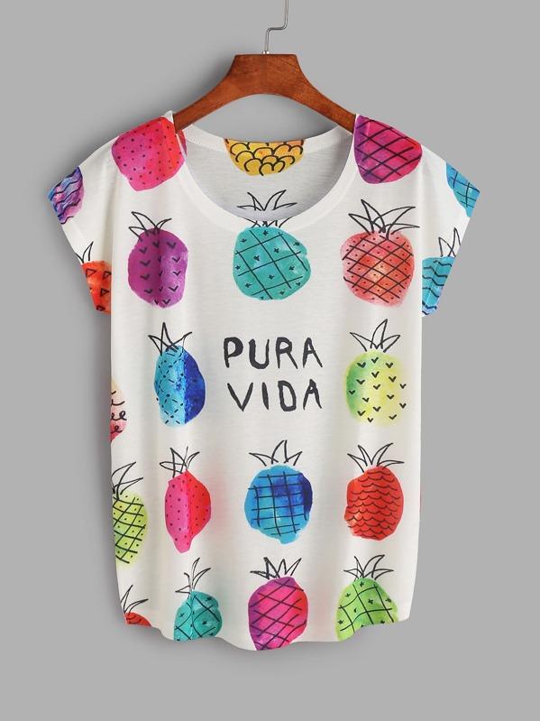 4b435dd24 Camiseta con estampado de piña