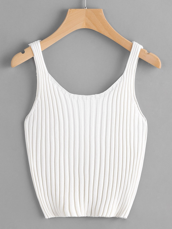 Ribbed Knit Crop Tank Top, White