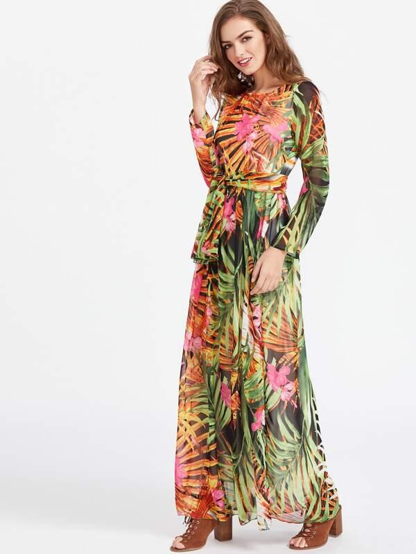 Robe mousseline longue imprimée tropical avec un lacet -French  SheIn(Sheinside)