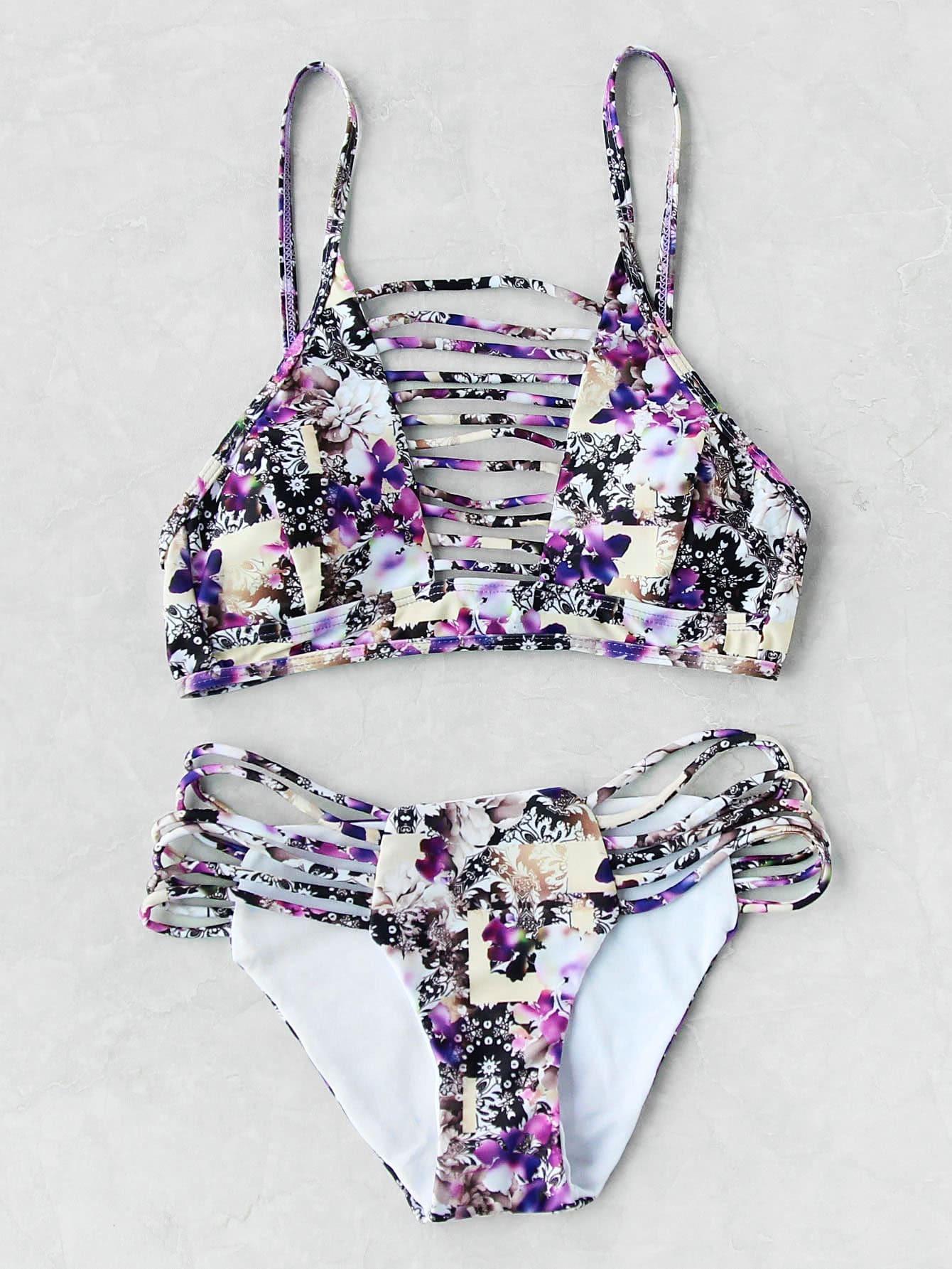 e889a550e9 Calico Print Ladder Cutout Bikini Set -SheIn(Sheinside)