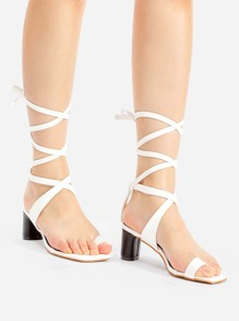 1c144b6871 Criss Cross Toe Ring Block Heeled Sandals | SHEIN IN