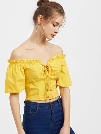 Bardot Neck Bell Sleeve Lace Up Corset Top