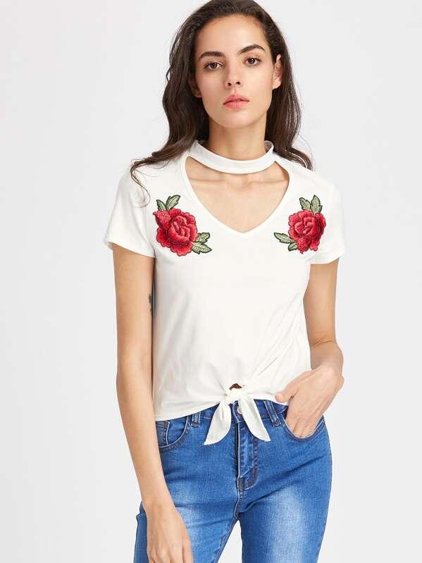 1a6db81bc3 Cheap Cutout Choker Neck Rose Patch Knot T-shirt for sale Australia | SHEIN