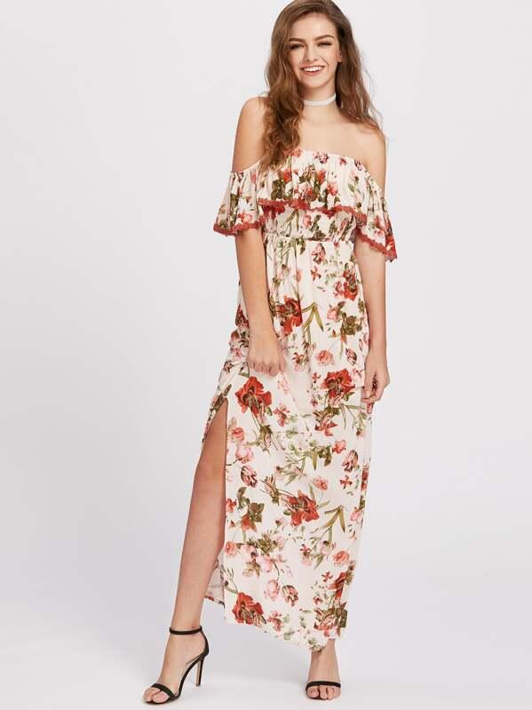 7fc48aee15 Flower Print Lace Trim Flounce Bardot Dress -SheIn(Sheinside)