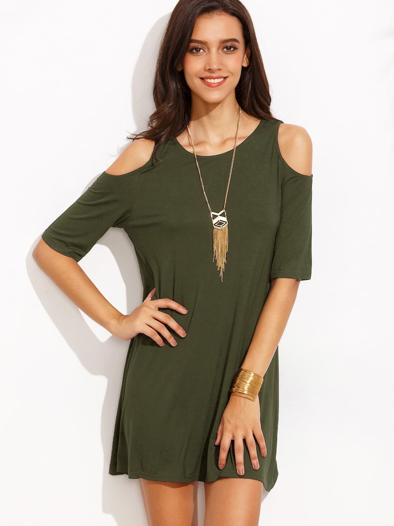 0f4c2a1e84429 Open Shoulder T-shirt Dress -SheIn(Sheinside)