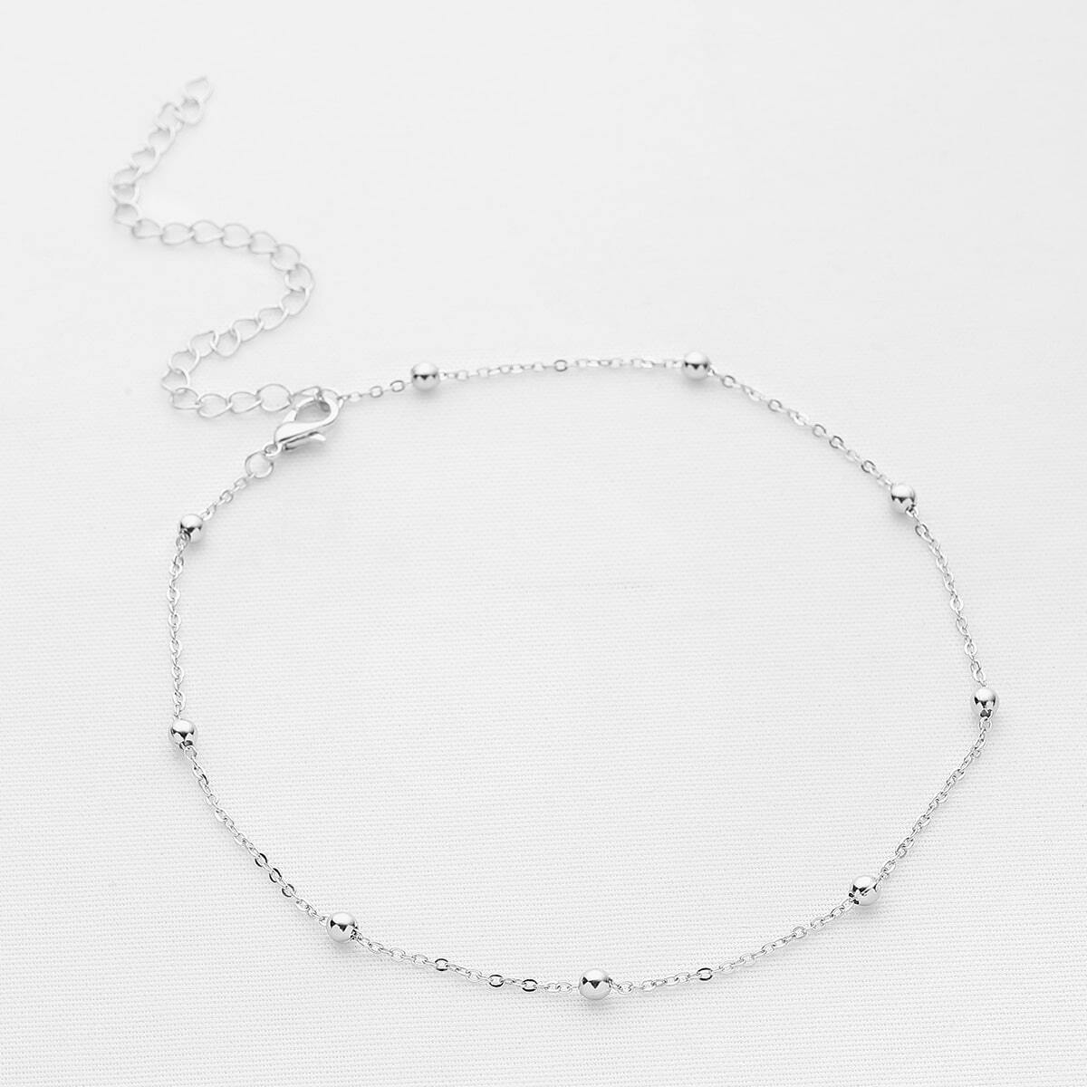 - Beaded Detail Chain Choker