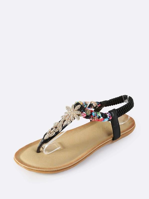 e1d85340e49e2 Embellished Braided Thong Sandals BLACK -SheIn(Sheinside)