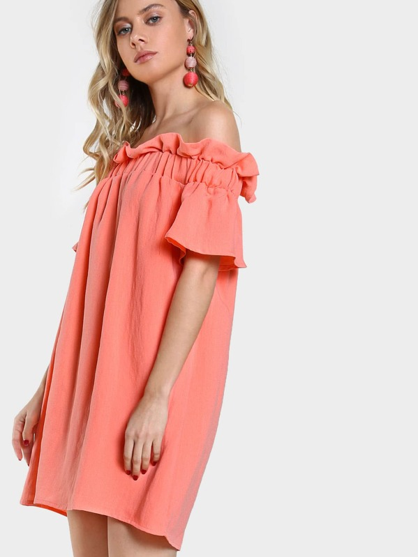 5cc374516cbc Ruffle Off Shoulder Flowy Dress CORAL | SHEIN