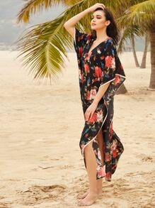 Flower Print Kimono Sleeve High Slit Maxi Top pictures