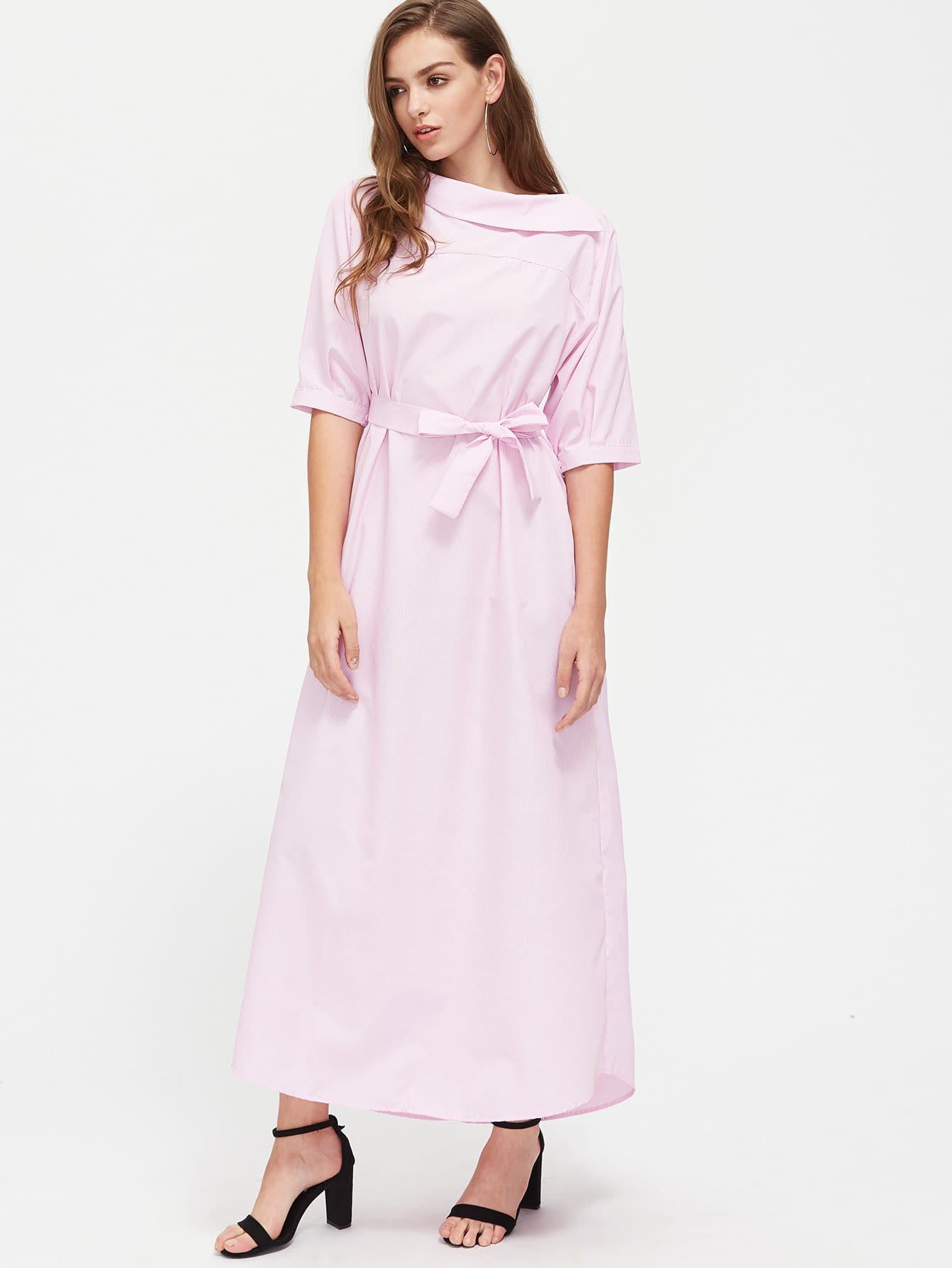 1a39a3194b65 Pinstripe Asymmetrical Off Shoulder Self Tie Dress