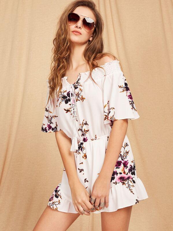 e6cf1c69bab Bardot Floral Print Tie Front Romper