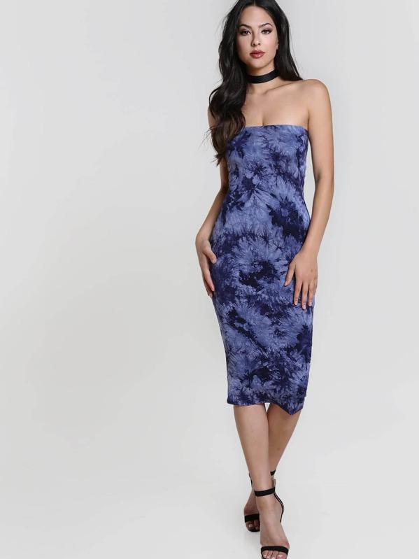 43d65619b0 Tie Dye Bandeau Midi Dress | SHEIN