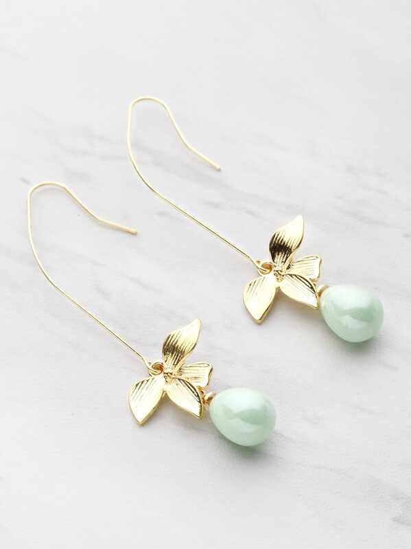 Faux Pearl And Metal Leaf Drop Earrings, Green