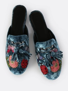 Embroidered Velvet Slip On Loafers