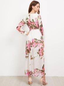 bea6b25c0cd6 Surplice Floral Self Tie Chiffon Maxi Dress | SHEIN