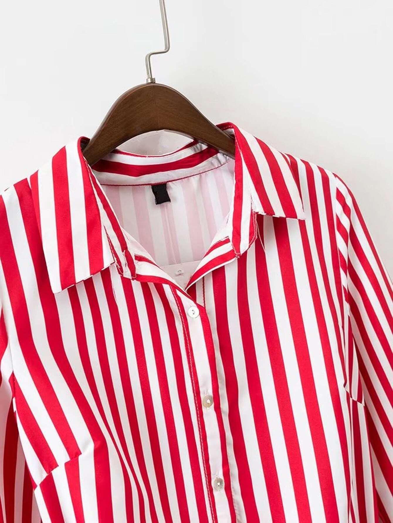 Vertical striped tie waist a line shirt dress shein for Striped tie with striped shirt