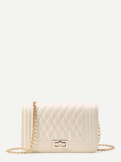 c3827e36297 Quilted Flap Crossbody Bag With Chain