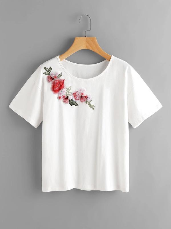 995e7295ec5c3 Flower Embroidery Applique Tee