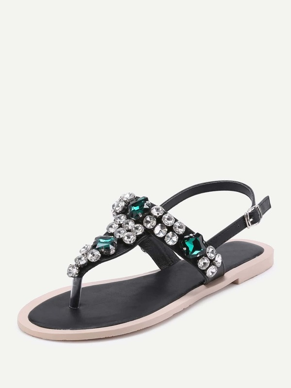 ae48a09a6 Gemstone Decorated T Strap Sandals
