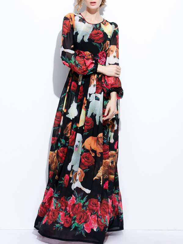 Dog Rose Print Maxi Dress