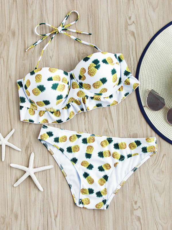 5b03e5eb22 Pineapple Print Fuller Bust Bikini Set | SHEIN