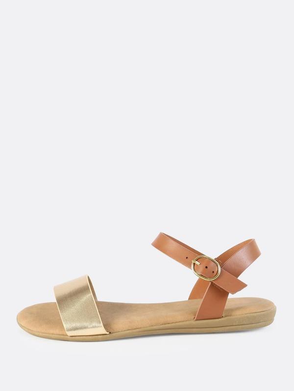2ae4b9ca8e4b88 Metallic Faux Leather Flat Sandals GOLD -SheIn(Sheinside)