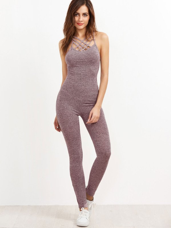 aa8e7e813cf Cheap Marled Ribbed Knit Caged Neck Unitard Jumpsuit for sale Australia