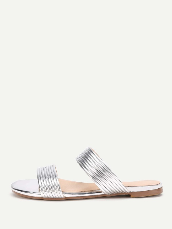 ba3c3b738601 Metallic Striped Slide Flat Sandals -SheIn(Sheinside)
