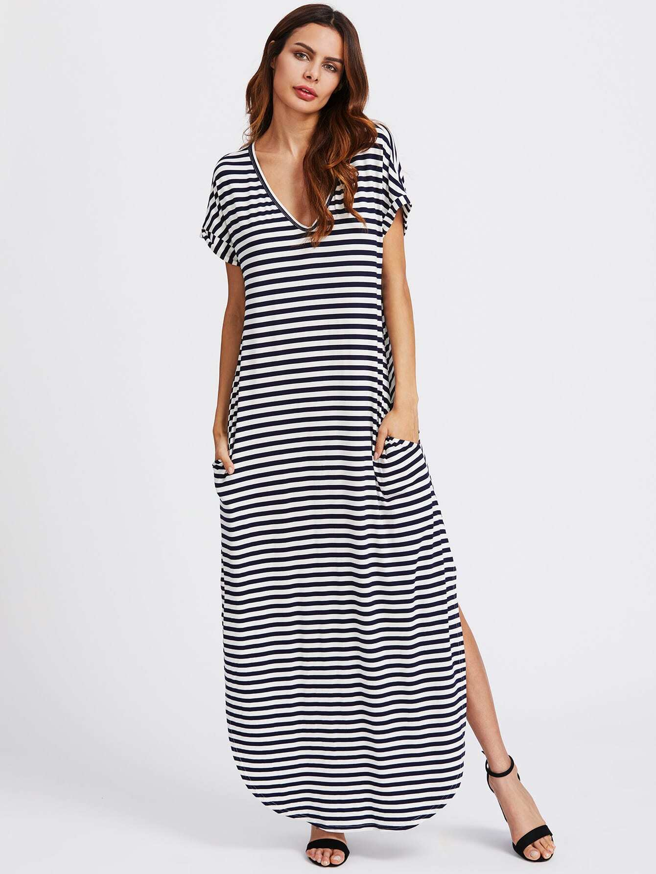 52d750c2 Slit Curved Hem Hidden Pocket Striped Tee Dress -SheIn(Sheinside)