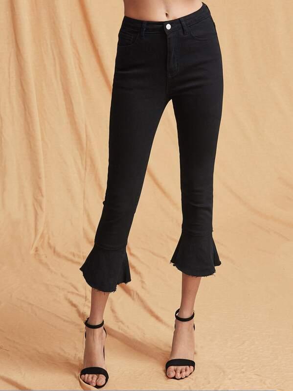 d9b5e4d484 Raw Hem Cropped Flared Jeans | SHEIN UK