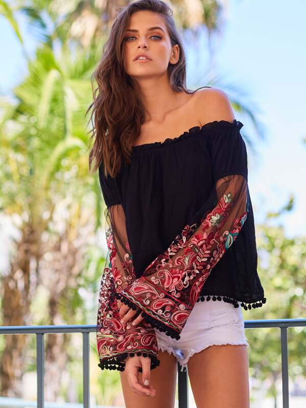 72ab9a6863f0e3 Black Ruffle Off The Shoulder Embroidered Bell Sleeve Top | SHEIN