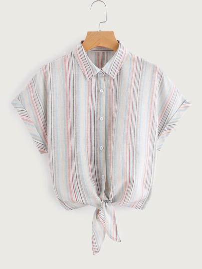 Tie Front Cuffed Dolman Sleeve Striped Shirt