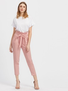 5191982a Self Belted Pleated Tailored Trousers | SHEIN UK