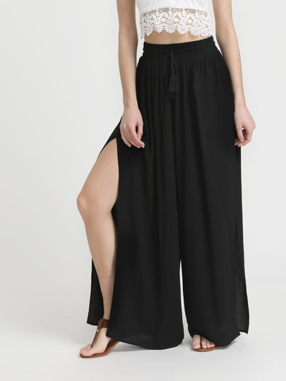 Drawstring Waistband Side Slit Palazzo Pants