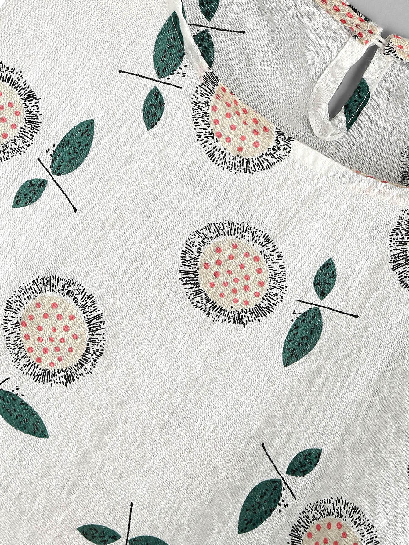 blouse trap ze imprim e des fleurs avec un trou french shein sheinside. Black Bedroom Furniture Sets. Home Design Ideas