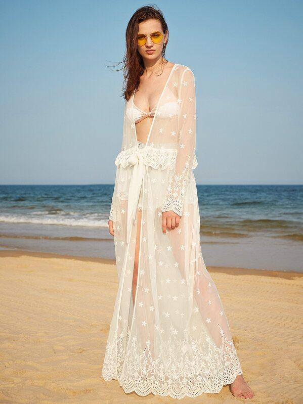 d7e9c6d749f98 à long kimono transparent avec crochet garniture brodé - Blanc | SHEIN