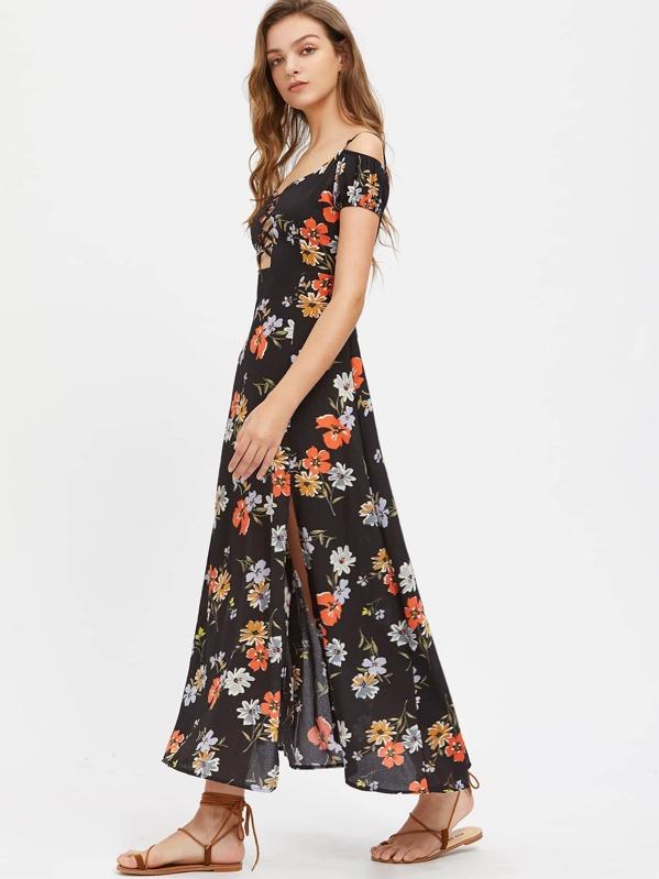 2788216dc4 Open Shoulder Floral Print Crisscross Front Slit Dress | SHEIN