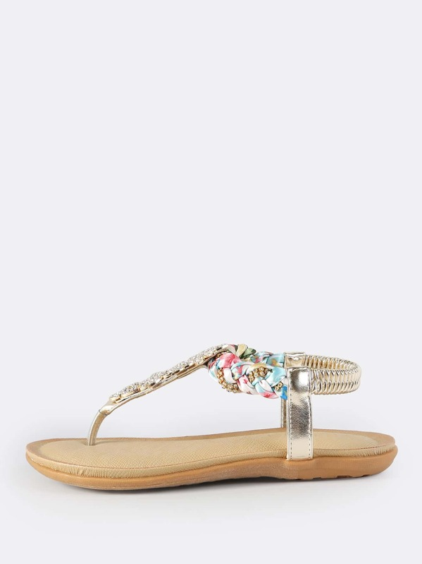 37be67b0724bb Multi Braid Embellished Thong Sandals GOLD