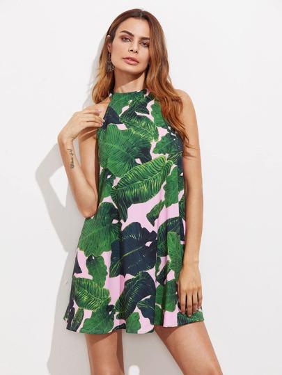80527ccda3e917 Trapez Kleid mit Dschungel Blatt Muster und Neckholder